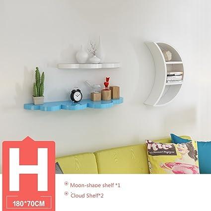 Wood Wall Corner Shelves Set, Moon Shape Floating Picture Display Shelf Set  Decorative Storage