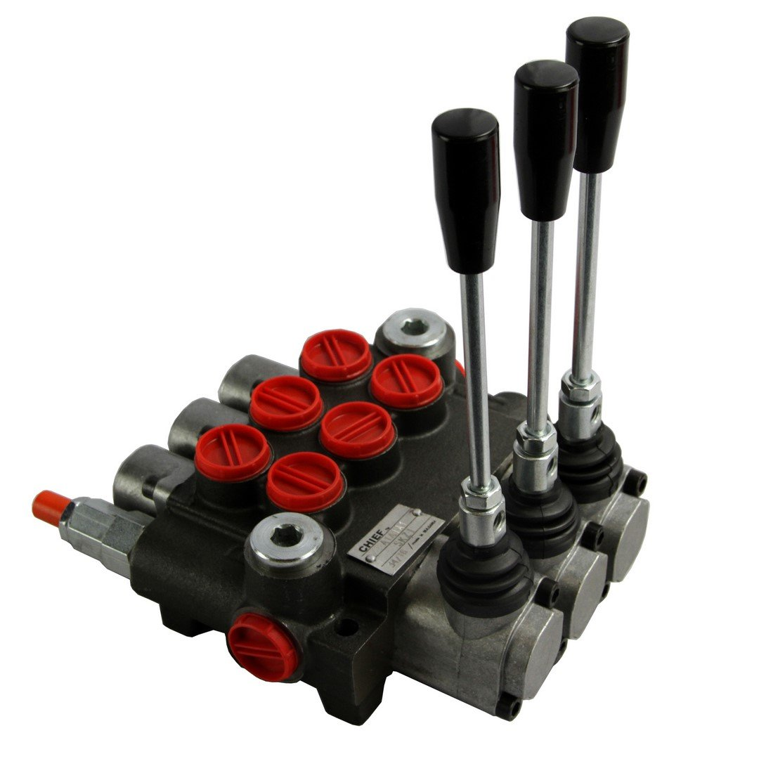 CHIEF G Series P40 Directional Control Valve: 3 Spool, 3-pos. Spring center, 10 GPM, 3625 PSI, SAE #8 Work and SAE #10 Outlet Ports, 1500-3625 PSI Relief Setting, 220908