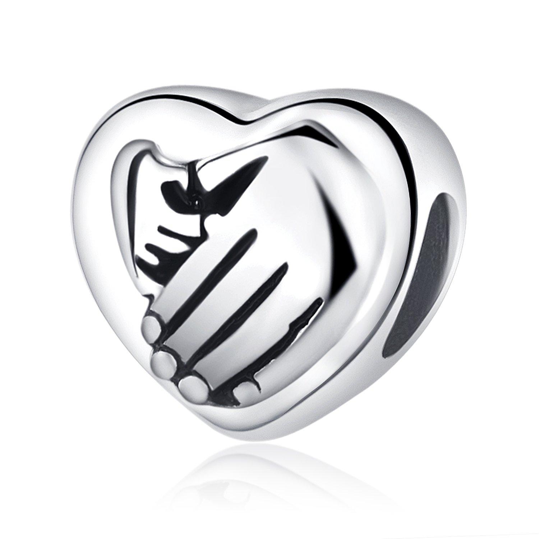 41955efa8de3 Abalorio de plata de ley 925 en forma de corazón para cadena de pulsera o  collar