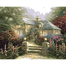 Plaid Creates Paint by Number Kit (16 by 20-Inch), 22031 Hollyhock House by Thomas Kinkade
