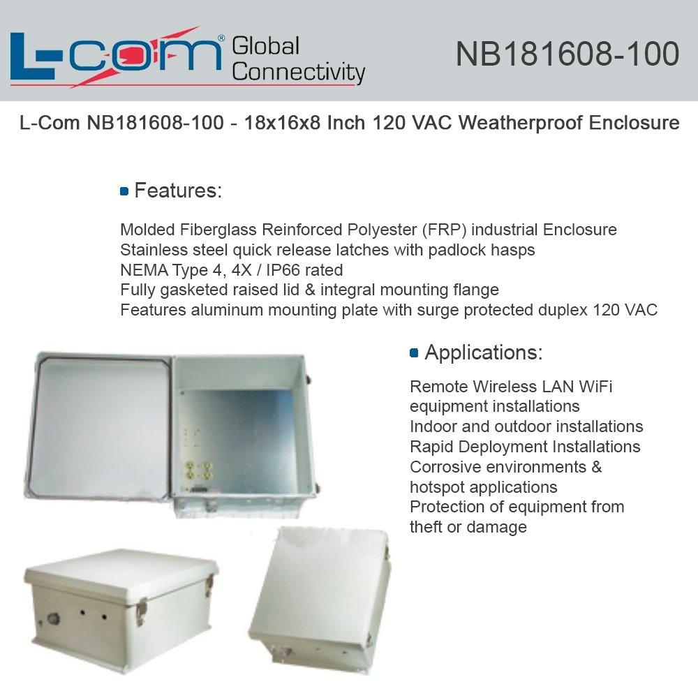 L-COM NB181608-100 ENCLOSURE, WALL MOUNT, POLYESTER, GREY
