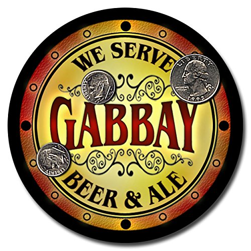 Gabbay Family Name Beer and Ale Rubber Drink Coasters - S...