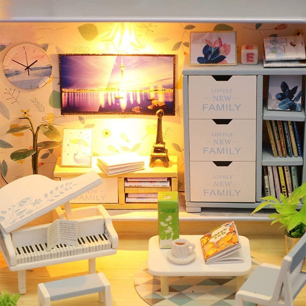 XLKJ DIY Dollhouse 3D Holz Miniaturhaus Miniatur Puppenhaus Kit Kinder Montage Mini Haus
