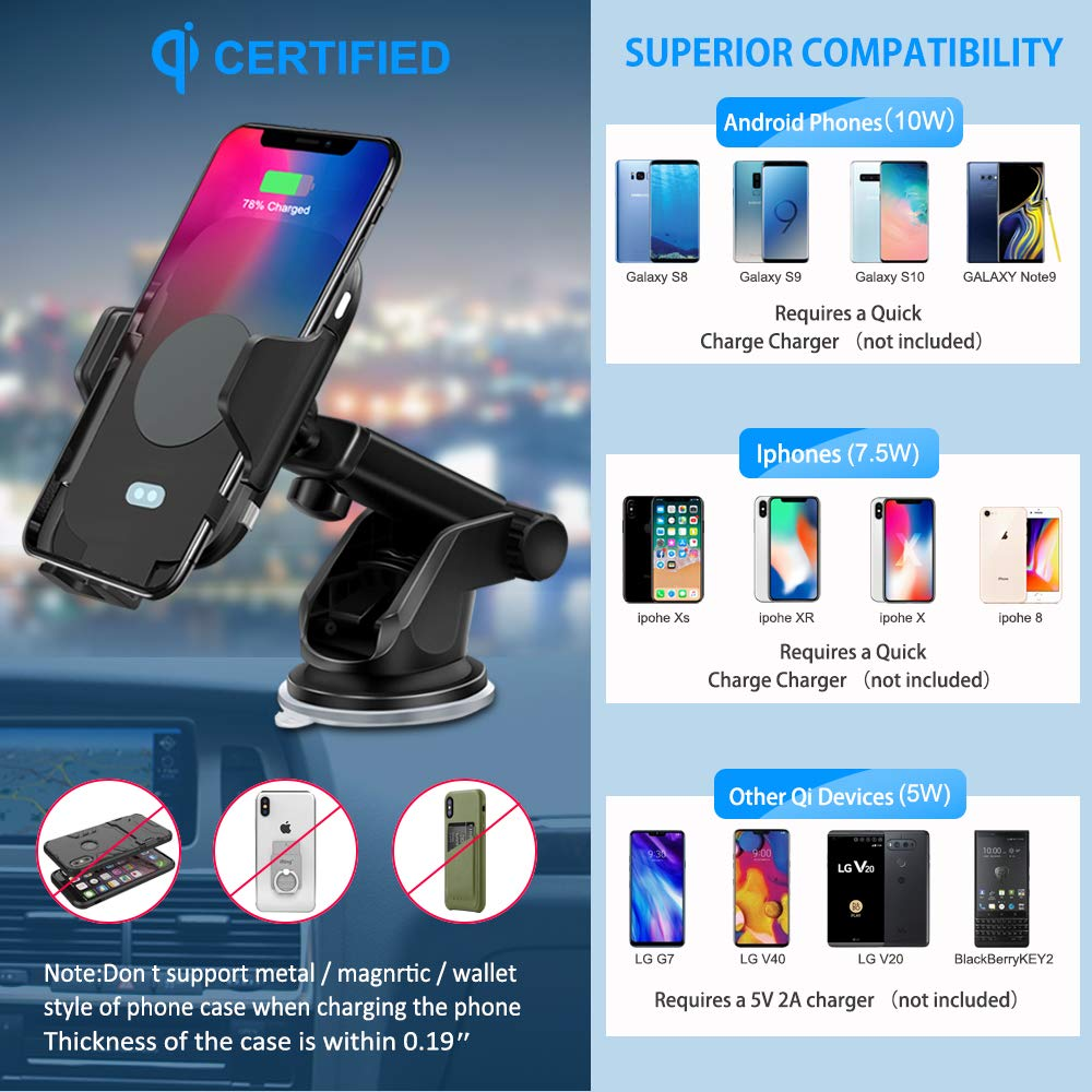 Gugusure Wireless Car Charger Mount, Auto-Clamp Car Charger Mount, Infrared Qi Fast Car Charging, Windshield Dashboard Air Vent Compatible with iPhone Xs Max Xr X 8 8, Samsung S9 S9 S8 S8