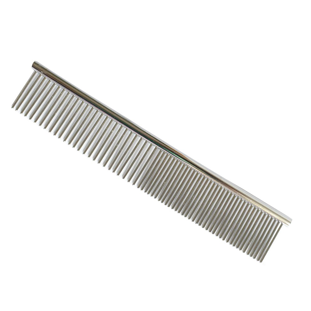 Pet Stainless Steel Grooming Comb Dual Purpose Poodle Hair Beauty Comb Grooming Tool for Dog Cat (L)