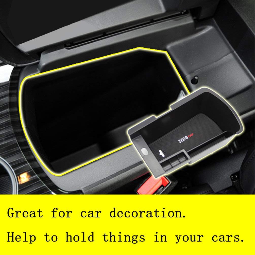 Schwarz Fahrzeuge Auto Organizer Central Armlehne Aufbewahrungsbox Container Tray Zubeh/ör F/ür Peugeot 3008 Car Styling