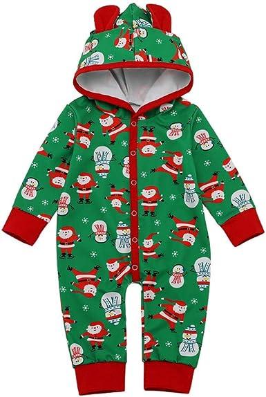 Infant Baby Boy Girl Kids Xmas Cartoon Jumpsuit Fleece Hoodie Long Sleeve Romper