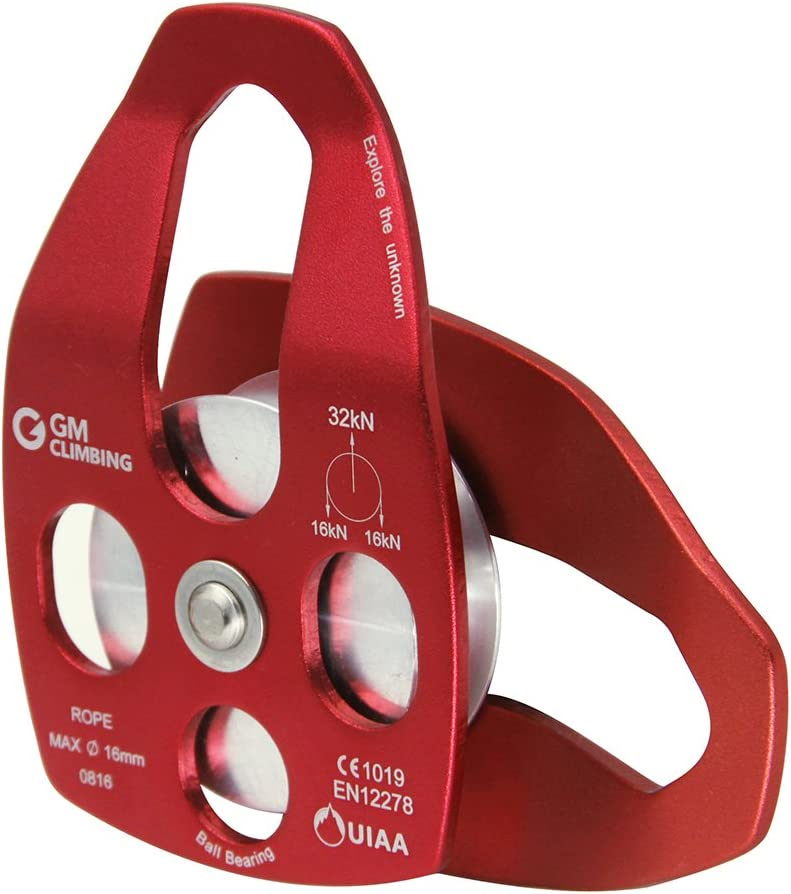 GM CLIMBING 32kN UIAA Certified Large Rescue Pulley Single//Double Sheave with Swing Plate CE//UIAA