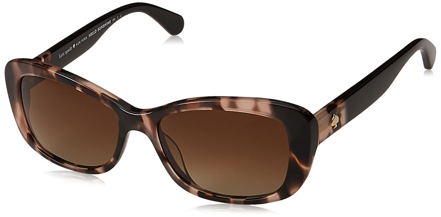 Kate Spade Women's Claretta/p/s Polarized Rectangular Sunglasses, Pink Havana, 53 mm