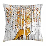 Ambesonne Hunting Decor Throw Pillow Cushion Cover, Fox Hunting in Autumn Forest Birch Trees Rustic Wilderness Animal, Decorative Square Accent Pillow Case, 24 X 24 Inches, Orange White Black Review