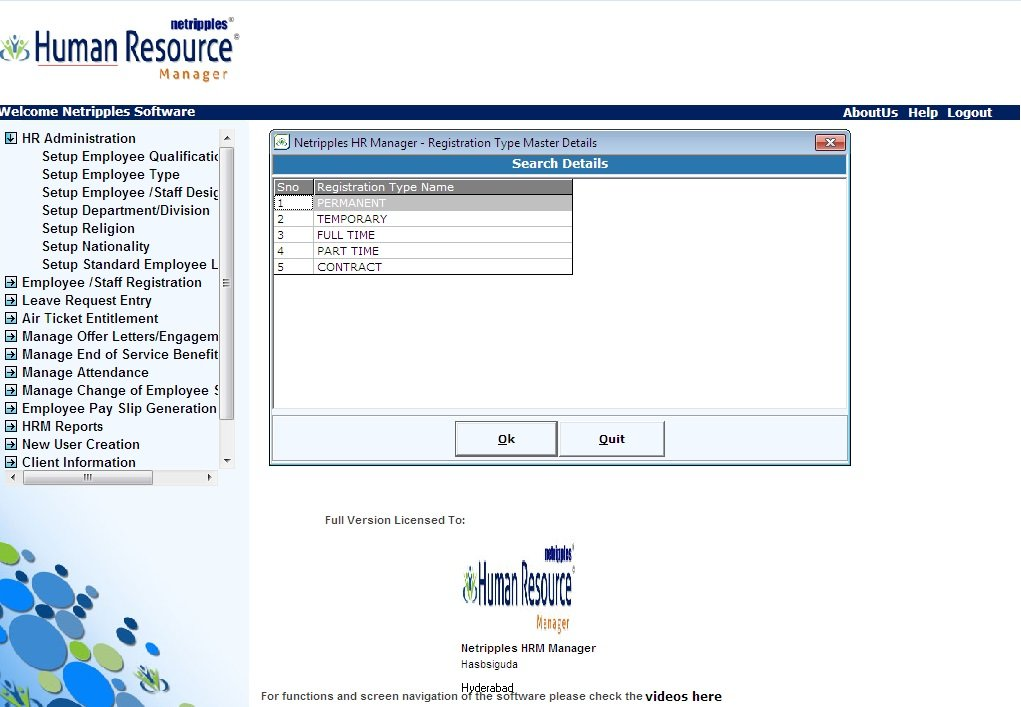 Netripples Human Resource Manager,Employee/ Staff Management Module,Leaves  Management ,Leave Travel / Vacation Allowances Management Module ,Manage