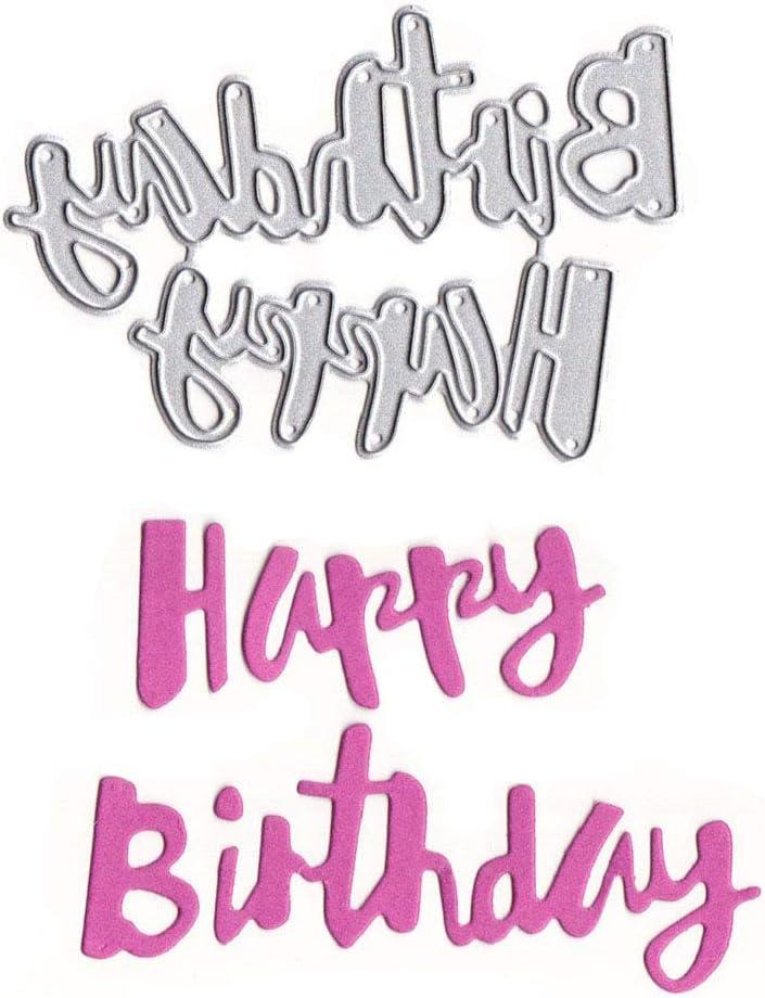 Happy Birthday 2 Betcy Cr/éatif Bricolage D/écoupage Carr/é Stencils M/étal Bricolage Album,Bricolage Embossing Card Album de Scrapbooking pour F/ête Marriage Anniversaire Cadeau