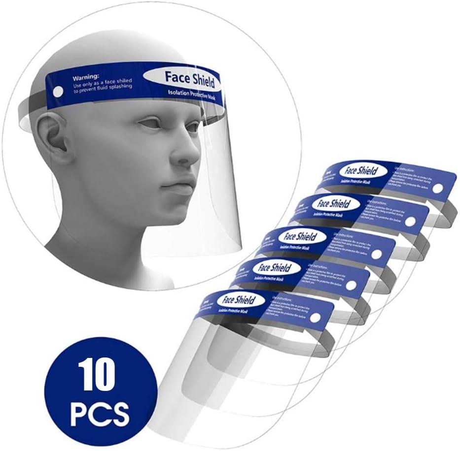 mascarilla facial reutilizable transparente transparente de cara completa evita la salpicadura de saliva ORSEN Protector facial de seguridad protege los ojos y la cara 10 pcs m/áscara facial