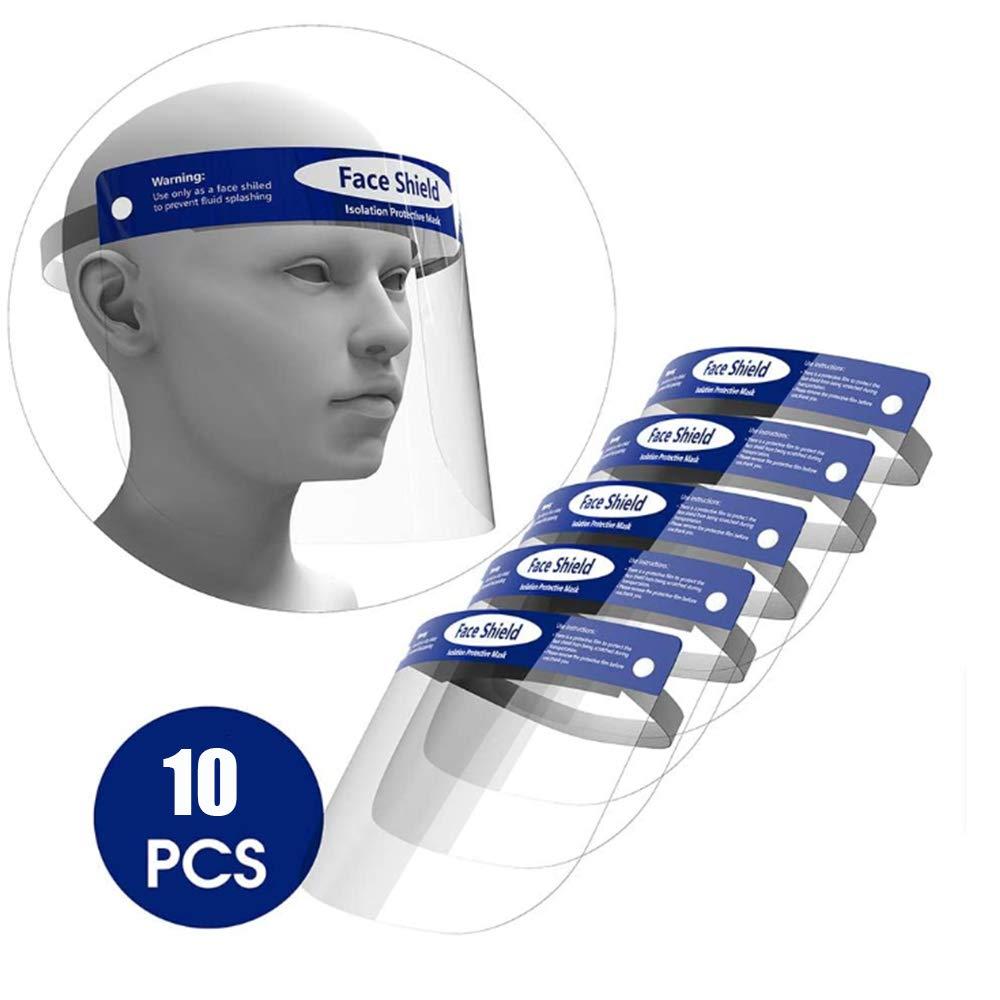 ORSEN Protector facial de seguridad, mascarilla facial reutilizable transparente transparente de cara completa, máscara facial, protege los ojos y la cara, evita la salpicadura de saliva(10 pcs)