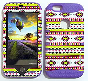 SHOCKPROOF HYBRID CELL PHONE COVER PROTECTOR FACEPLATE HARD CASE AND LIGHT PURPLE SKIN WITH STYLUS PEN. KOOL KASE ROCKER FOR APPLE IPHONE 6 PATTERN LP-TE602