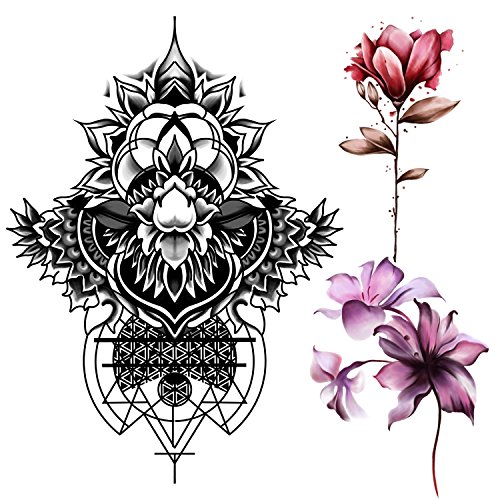Ferrol Large Fake Waterproof Tattoo Sticker – Sexy Color Flowers Art For Women Or Girls . ( 3 Sheets)