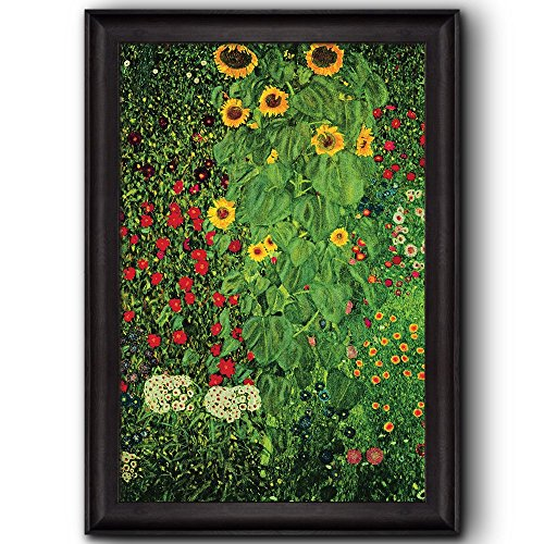 Farm Garden with Sunflowers by Gustav Klimt Framed Art