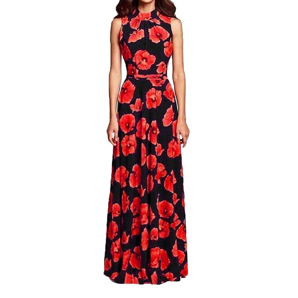 Women's Elegent O-Neck A-line Dress Casual Floral Vintage Evening Party Long Dress (Black, S) by Sihand (Image #1)