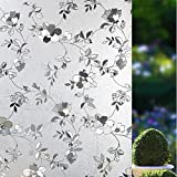 ZEALOTT Peach Flower Embossed Window Film No-glue Decorative Privacy Glass Window Film Non-adhesive Frosted Static Cling Stained Glass Window Film for Office Home Bathroom 17.7-by-78.7 Inches