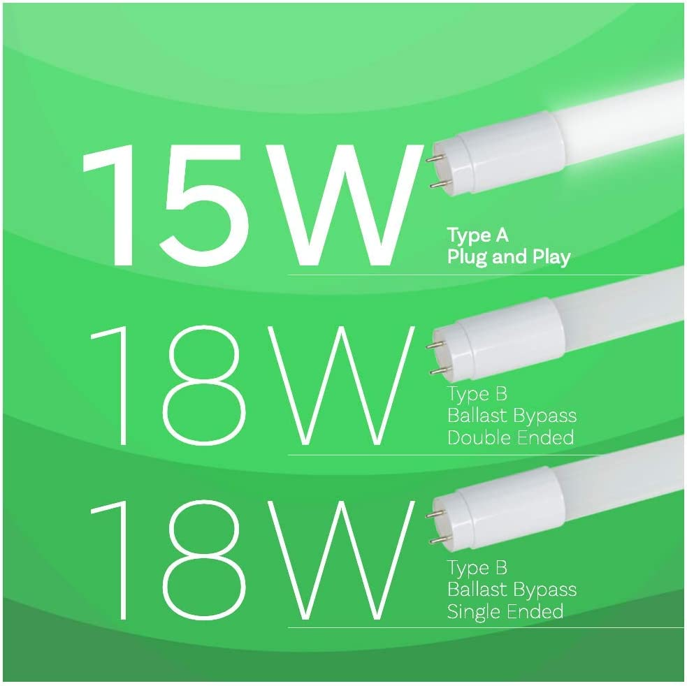 T8 LED Tube Light Asencia AN-03524 15W Type A 12 Count Plug and Play 12-Pack Cool White 4000K DLC Certified