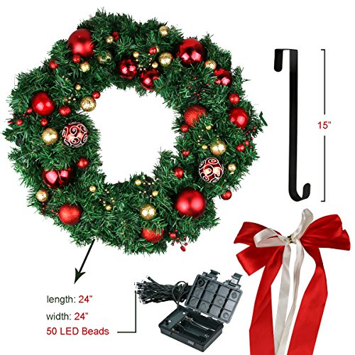 24' Led Lighted Wreath - Christmas Wreath, Large Christmas Wreath with Led Lights, Prelit Xmas Door Wreath, Artificial Pine Garland, Merry Christmas Decorated Pine Wreath, 24'' Xmas Garland, Artificial Wreath for Home Décor