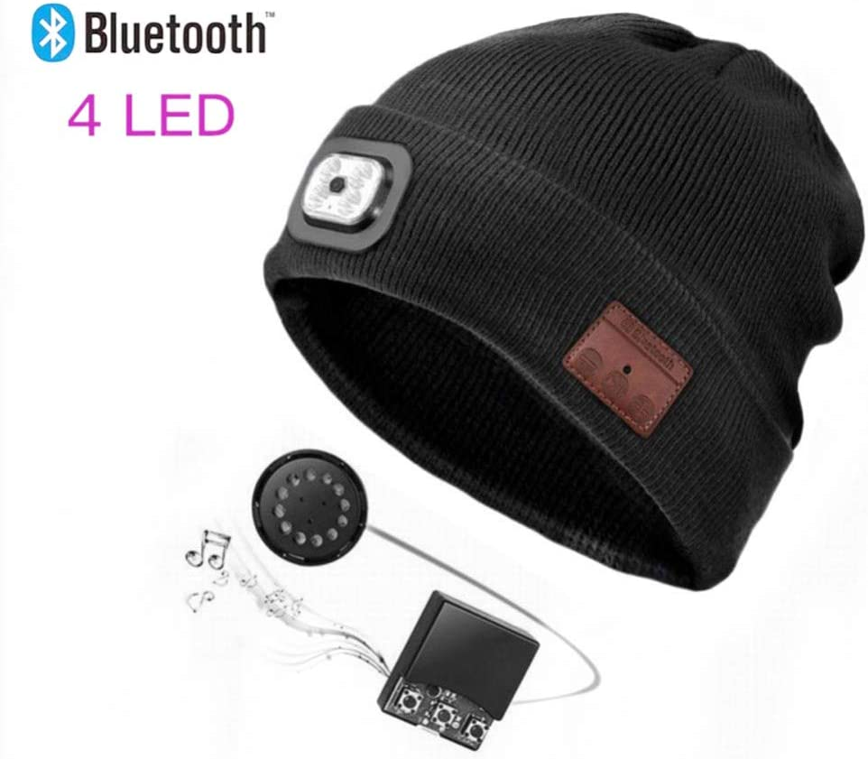 Gorro con Bluetooth con faro LED, recargable, con Bluetooth inalámbrico, con manos libres, gorro de invierno cálido con brillo LED ajustable