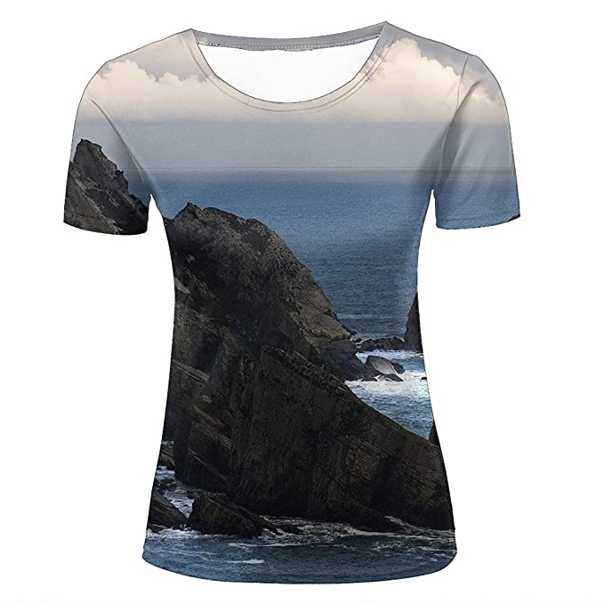 807e31c74 3D Creative Printed Mens Womens Steep Rock Graphic Summer Casual Short  Sleeve Couple T Shirts Tees