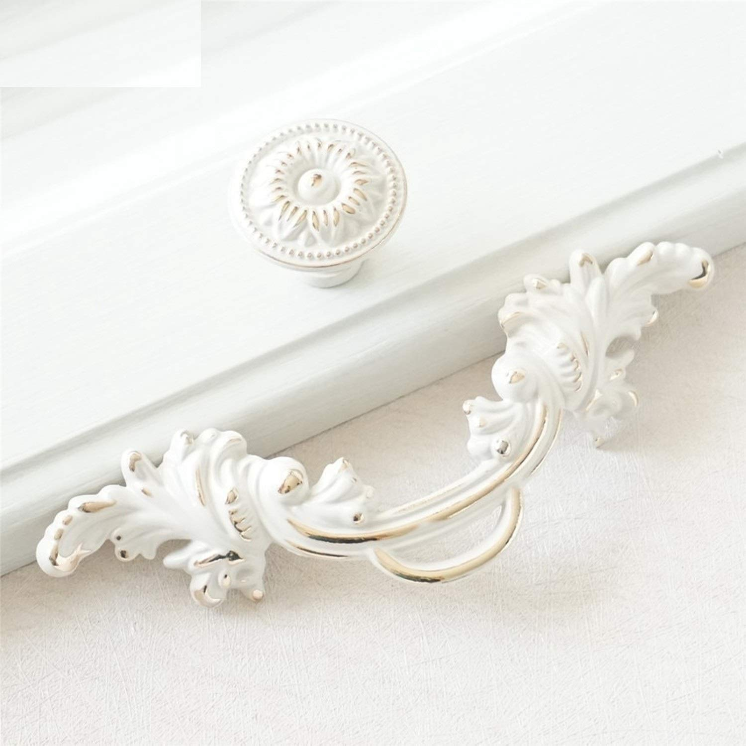 """(Set of 1) - 2.5""""/64mm Vintage Shabby Chic Cabinet Dresser Pull Drawer Pulls Handles White Gold Rustic Kitchen Cabinet Handle Door Knobs Pull French Country (Knob)"""