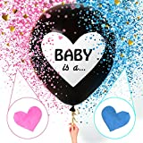 Sweet Baby Co. Jumbo 36 inch Baby Gender Reveal Balloon | Big Black Balloons with Pink and Blue Heart Shape Confetti Packs for Boy or Girl | Baby Shower Gender Reveal Party Supplies Decoration Kit