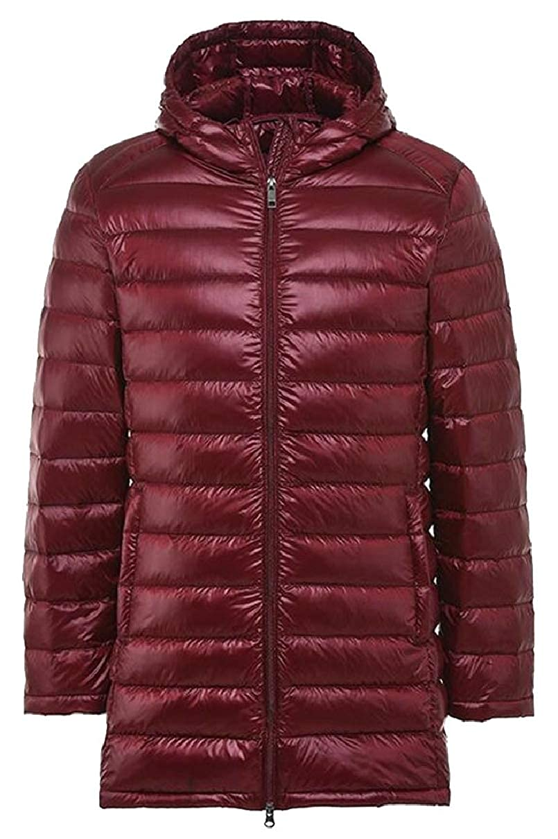 CBTLVSN Mens Coat Winter Warm Hoodie Zipped Solid Coat Padded Down Jacket