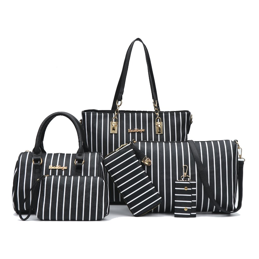4a79ad3cc0 Amazon.com  6-Piece Women Fashion Handbags And Purese Set Female Shoulder  Bags Tote Bags Clutch Wallet (black stripe)  Shoes