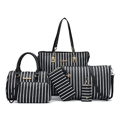 9c611a467406 Amazon.com  6-Piece Women Fashion Handbags And Purese Set Female Shoulder  Bags Tote Bags Clutch Wallet (black stripe)  Shoes