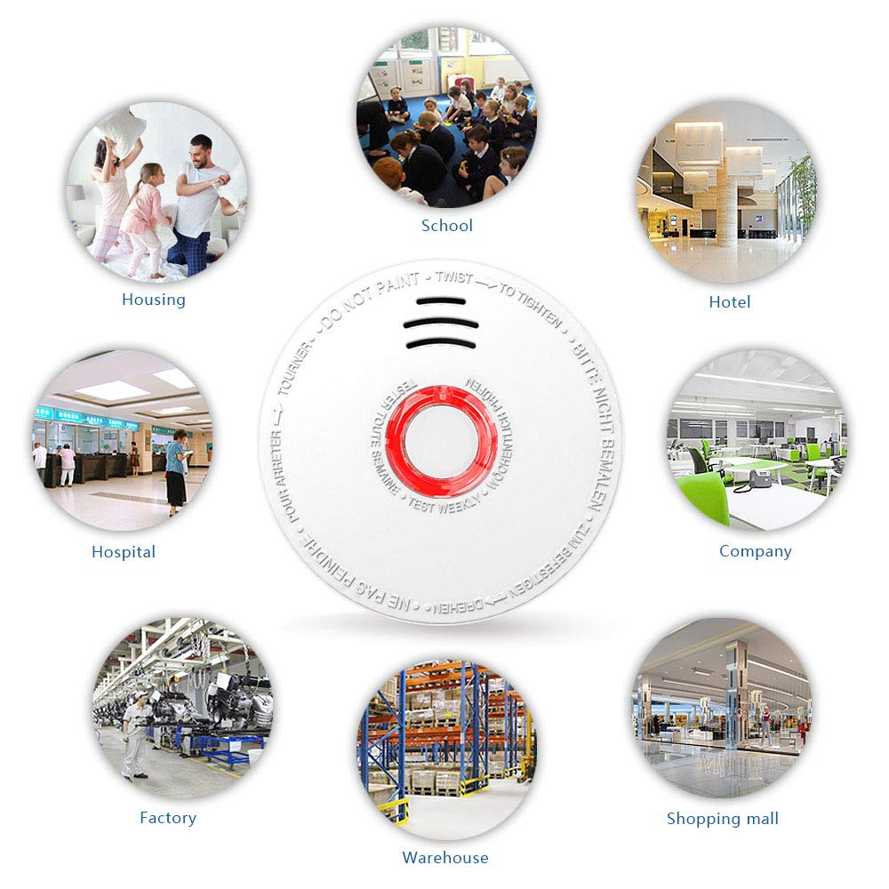 Smoke Detector and Fire Alarm 4 Pack Photoelectric Sensor Smoke Alarms Easy to Install Fire Alarm With UL Listed, Light Sound Warning, Test Button,9V Battery Included Fire Safety for Home Hotel School by SITERWELL (Image #3)