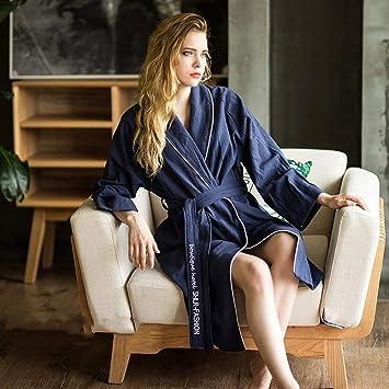 SY Pijamas cómodos para el hogar Tienda de algodón con Bolsillos Albornoz - Albornoz de algodón