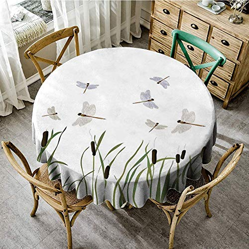 DONEECKL Restaurant Tablecloth Dragonfly Flying Small Dragonflies Over Tall Reeds Botanical Environmental Artsy Graphic Table Decoration D59 Purple Green