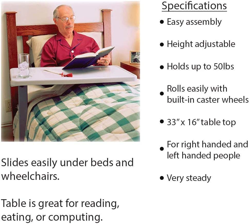 Carex Overbed Table and Hospital Bed Table - Table With Wheels - Over The Bed Table For Home Use and Hospital: Health & Personal Care