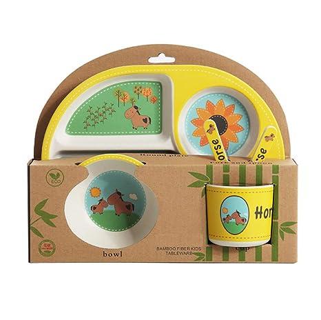 PLACA BOWL Tenedor Cuchara 5 Piezas Taza Niños Conjunto de Plato De Cena De Bambú Desayuno Eco