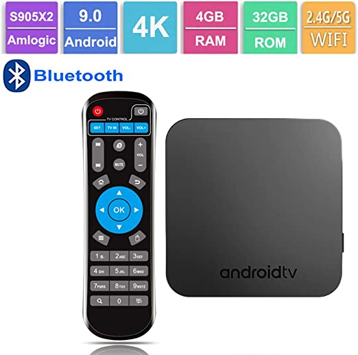 GALEI Andriod 9.0 TV Box, Bluetooth Set Top Box HD 4GB RAM + 32GB ROM WiFi 2.4G / 5.0G, Smart 4K Media Player con Control Remoto: Amazon.es: Hogar