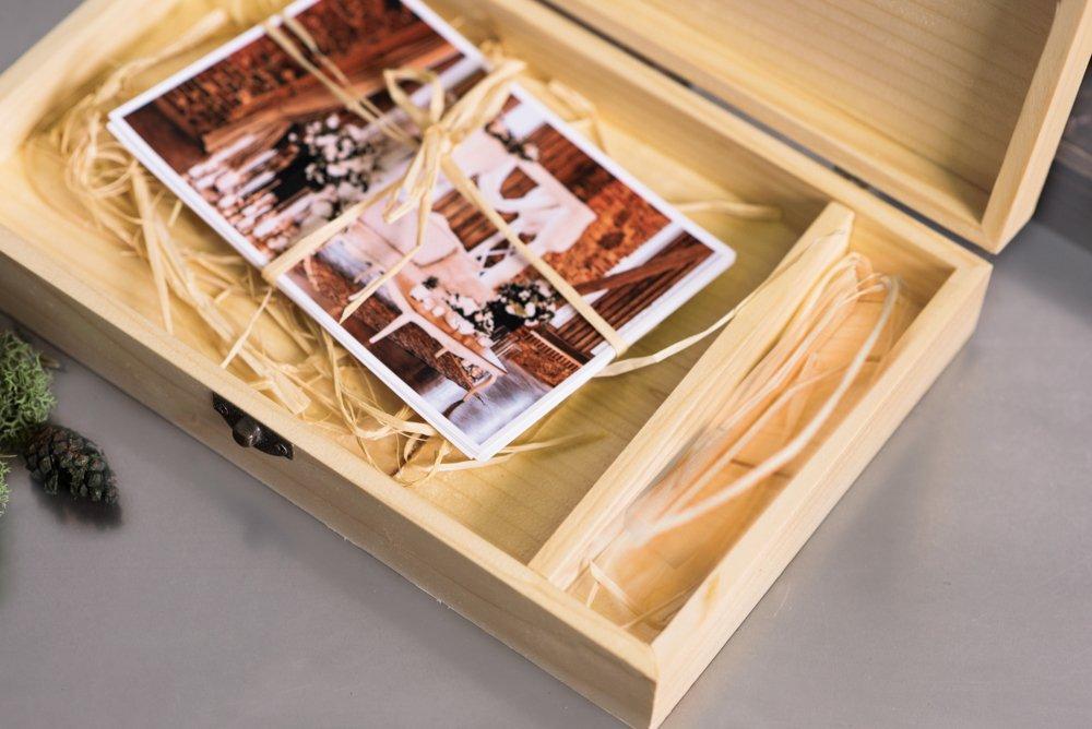 Chiavetta USB in legno e print box 22cmx15cm