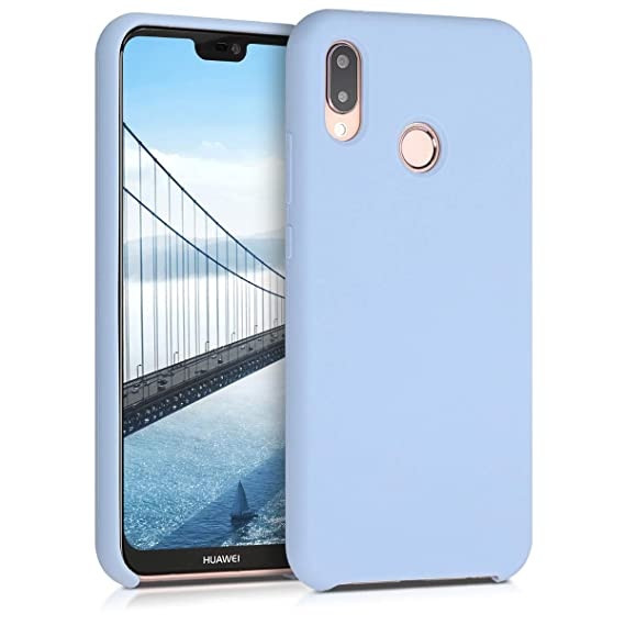 kwmobile TPU Silicone Case for Huawei P20 Lite - Soft Flexible Rubber Protective Cover - Light Blue Matte
