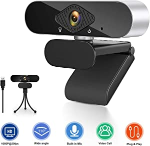 Airsnigi Webcam with Microphone, Full HD 1080P Computer Camera, PC Laptop Desktop USB Webcam Streaming Computer Web Camera with 110-Degree View Angle Web Cam for Video Calling Recording Conferencing
