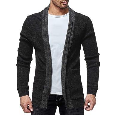 Sannysis Hombres Moda Sólido Cárdigan Suéter Sudaderas Casual Chaqueta de Abrigo Slim fit (M,