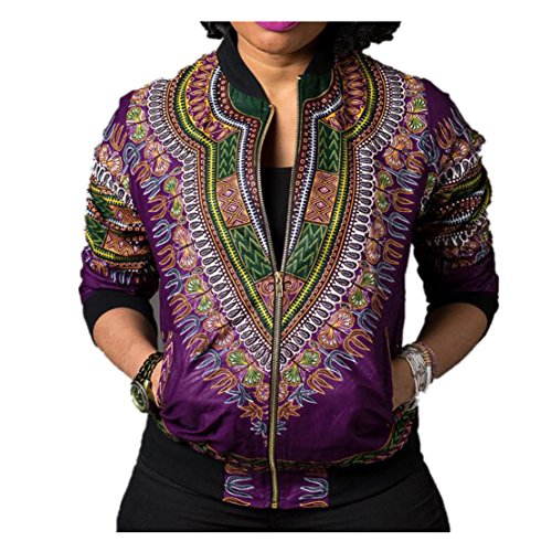 WEUIE Clearance Sale Women Dashiki Long Sleeve Fashion African Print Dashiki Short Casual Jacket (XL,Purple) - Love Shelf Bra