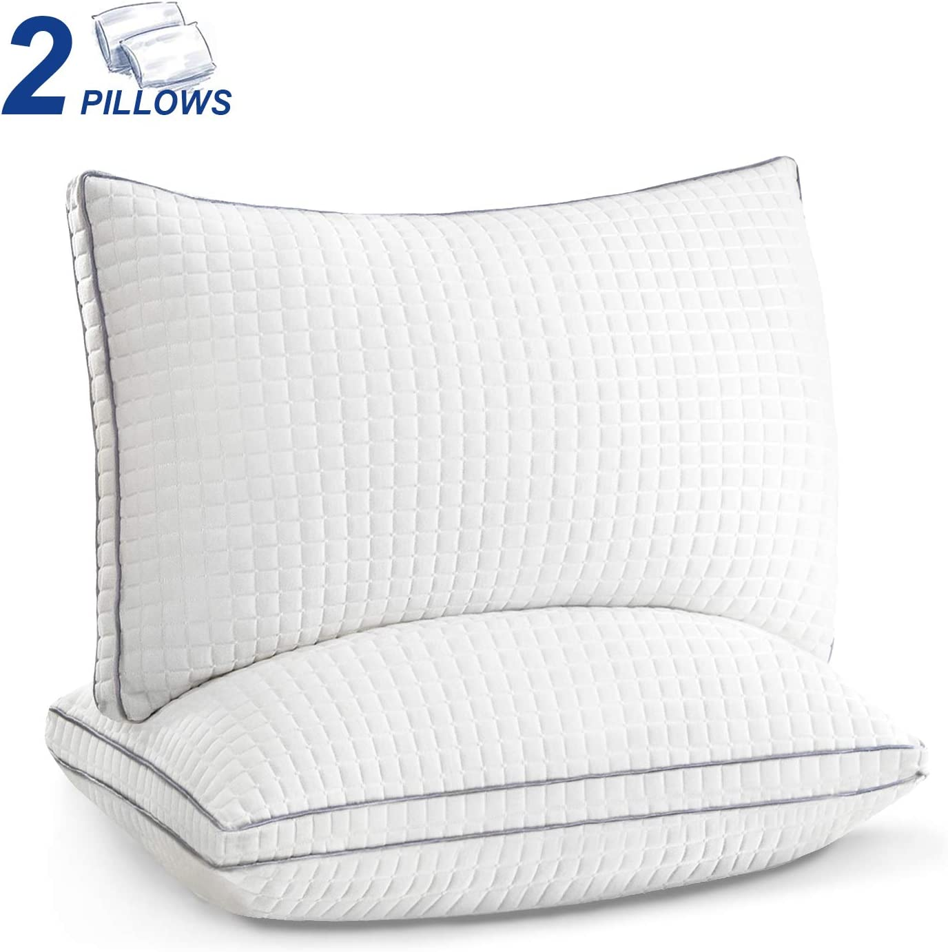 Pillows for Sleeping 2 Pack, Hotel Down Alternative Sleeping Bed Pillows with Adjustable Plush Fiber Fill, Hypoallergenic Soft Firm Pillows for Back, Stomach, Side Sleepers-Standard Size 20 x 26