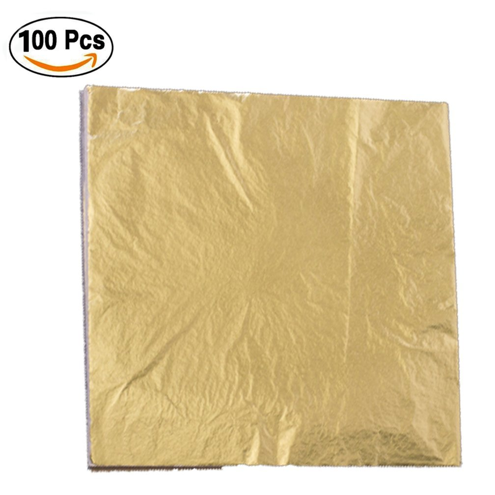 Gold Leaf,Langcal 100 Sheets Imitation Gold Leaf for Arts,Gilding Crafting,Decoration,5.5 by 5.5 Inches (100, Gold) Hengker