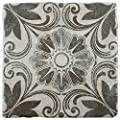 "SomerTile FEB8CCD6 Cana Cendra Ceramic Floor and Wall Tile, 7.75"" x 7.75"", Grey/Blue/Brown"
