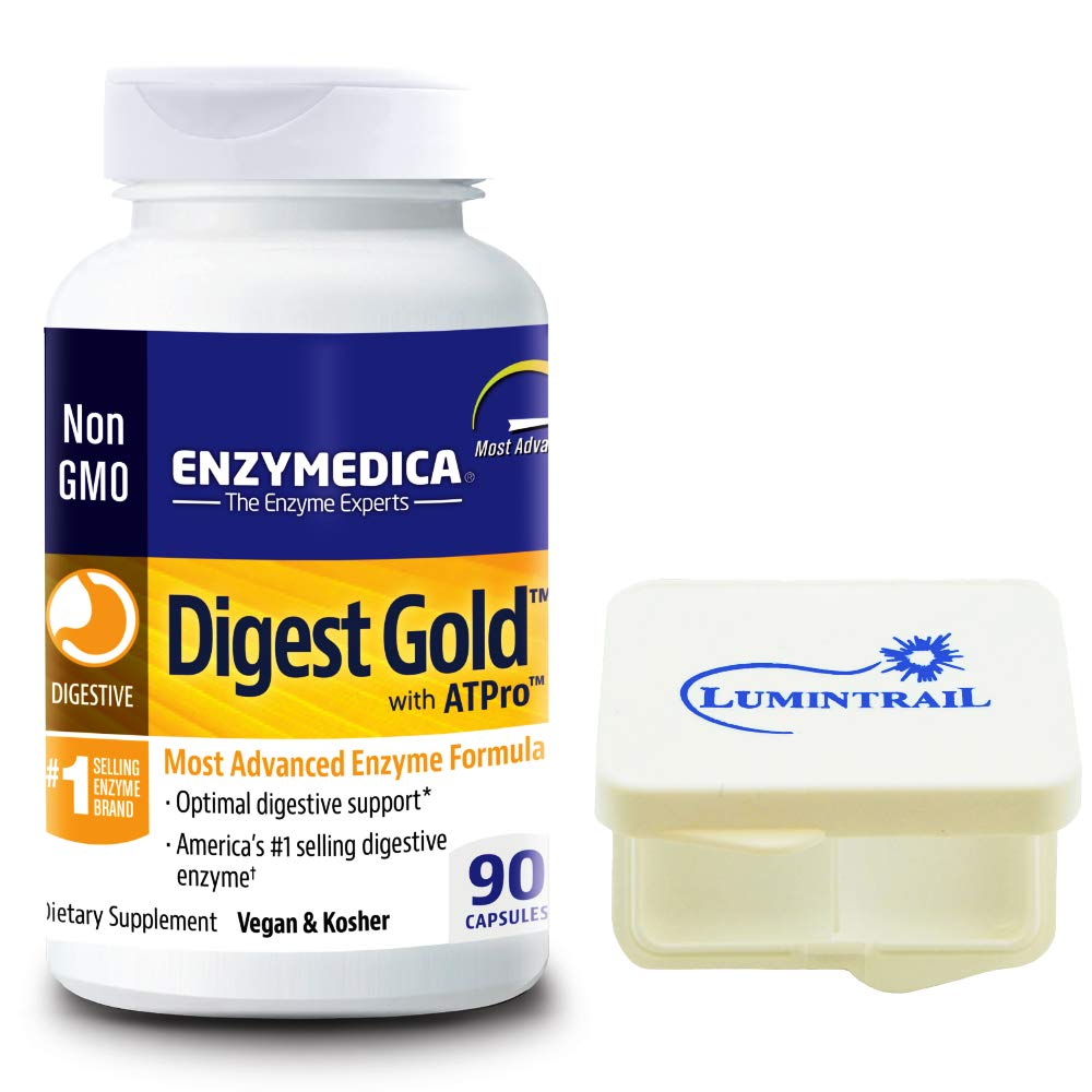Enzymedica Digest Gold with ATPro, Daily Digestive Support Supplement, 90 Capsules Bundle with a Lumintrail Pill Case