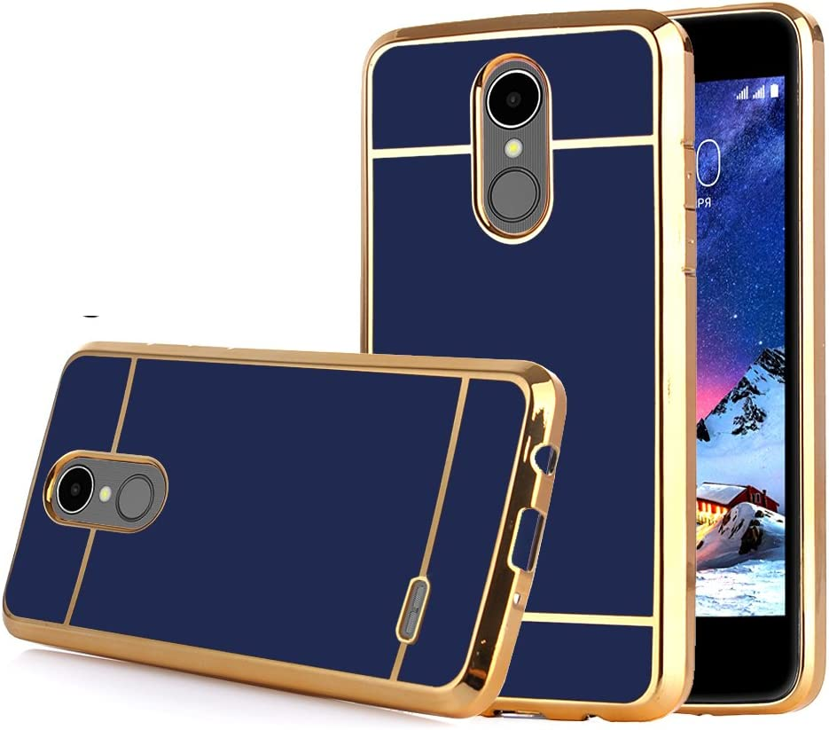 TabPow LG Stylo 3 Case Electroplate Slim Glossy Finish, Drop Protection, Shiny Luxury Case for LG Stylo 3/ LG Stylo 3 Plus - Royal Blue Gold