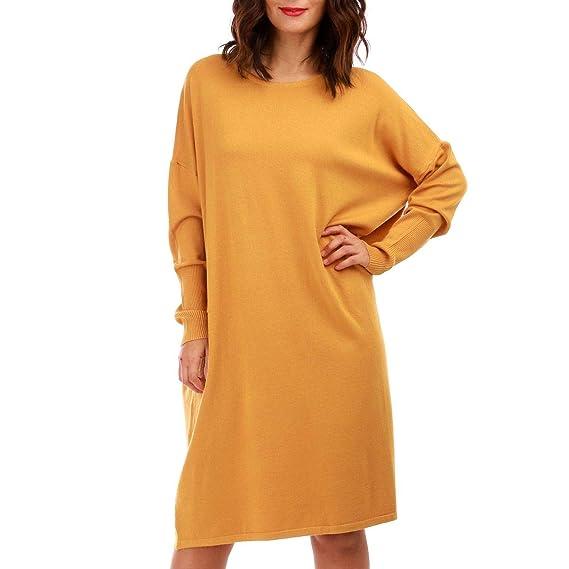 enfant Clairance de 60% qualité parfaite La Modeuse - Robe pull jaune moutarde fluide, en maille fine ...