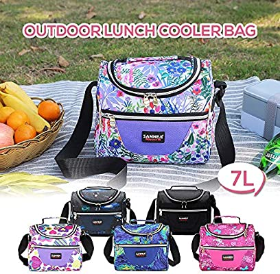 5309c3a471f7 Lixada 7L Insulated Food Bag Cooler Lunch Tote Thermal Bento Bag ...